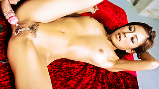 Ramu Nagatsuki penetrated and cream-pied in her pinkish muffin
