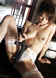 Maki Hojo Asian rubs hairy slit under lace panty and with objects