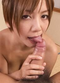 Meguru Kosaka Asian licks penis she puts between her fine boobs