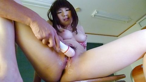 Teen Yuri Sato uses a japanese big dildo to cum