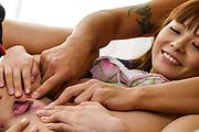 Anri Sonozaki - Asian girl creampie in threesome withAnri Sonozaki - Picture 8