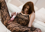 Tsubasa Aihara with cum on face puts vibrator on crotchless lace