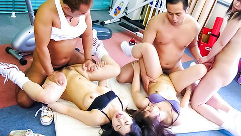 Sporty and busty babes fondled and fucked in the gym japanese girl, asian hardcore, asian models