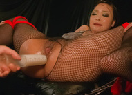 Yuu Haruka in crotchless fishnets is fucked with vibrator in ass