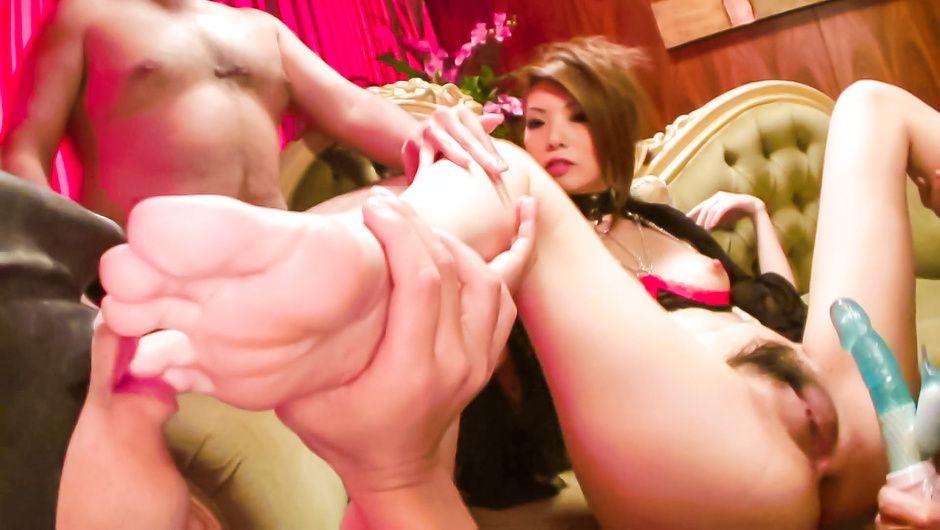 Pumped pussy of Ria Sakurai meets a big sex toy set