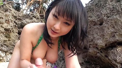 Megumi Haruka bites balls and sucks dick