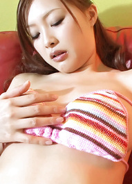 Ishiguro Kyoka enjoys toying her perfect furry pussy