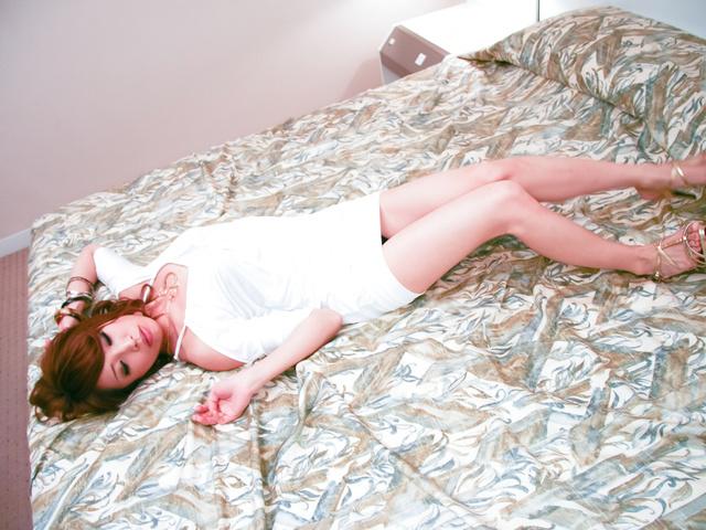Aya Sakuraba - Lusty Japanese chick cock sucking and nailed hard in her quim - Picture 5